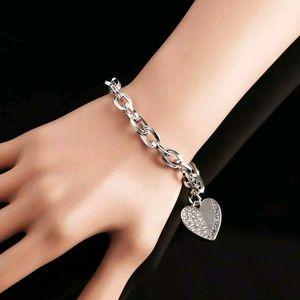 Michael Kors silver bracelet chain Heart Pendant
